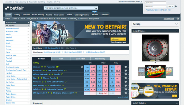 Betfair - sports betting